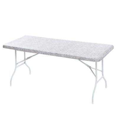 "30x72"" Cotton Fabric Fitted Table Cover, Grey Granite"