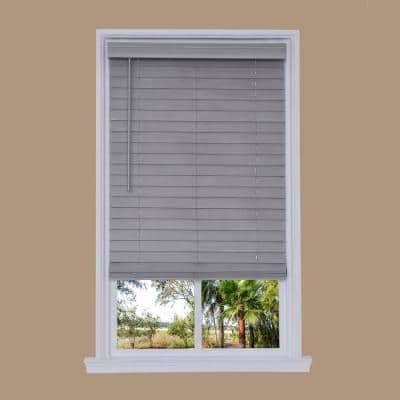 Steel Gray Cordless 2.5 in. Distressed Faux Wood Blind 58.25 in. W x 72 in. L