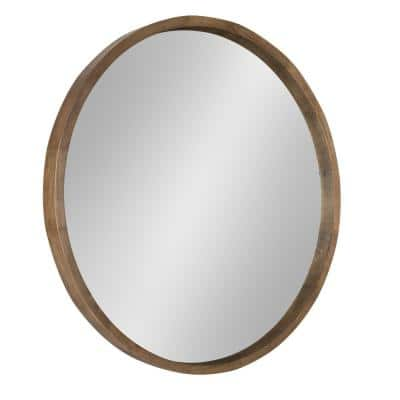 Medium Round Rustic Brown Contemporary Mirror (30 in. H x 30 in. W)