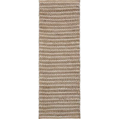 Global Gray and Ivory 2 ft. x 5 ft. 8 in. Striped Natural Jute Runner Rug