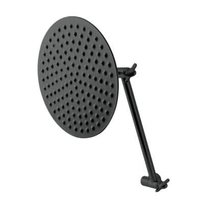 Victorian 1-Spray Patterns 7.8 in. Single Wall Mount Fixed Shower Head with Shower Arm in Matte Black
