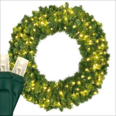 Sequoia Fir 36 in. Pre-Lit Artificial Commercial Wreath with 150 Warm White LED Lights