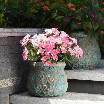 Tenbury 9 in. Blue Concrete Decorative Vase