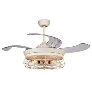 Benally 46 in. Fresh White Retractable Ceiling Fan with Light Kit and Remote Control