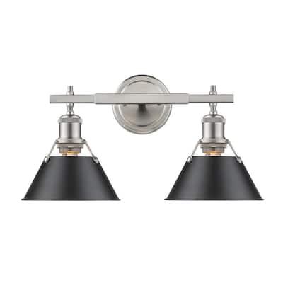 Orwell PW 2-Light Pewter Bath Light with Black Shade