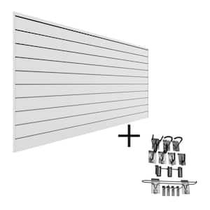 PVC Slatwall 8 ft. x 4 ft. White Sports Bundle (12-Piece)
