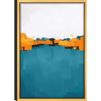 Abstract 'Dawn' Acrylic UV Resistant Glass Wall Art with Gold Frame 16 in. L x 24 in. W