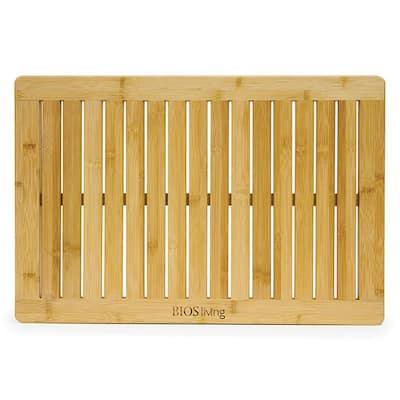 Brown 15 in. x 24 in. Bamboo Shower-Crate Bath Mat