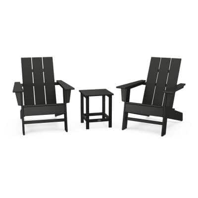Grant Park Black Plastic Outdoor Patio Adirondack Chair Set (3-Piece)