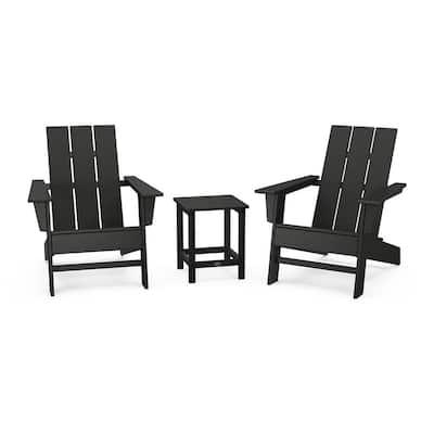 Grant Park Black Plastic Outdoor Adirondack Chair Plastic 3-Piece Set