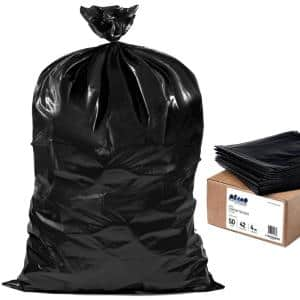33 in. W x 48 in. H 42 Gal. 4.0 mil Black Flat Seal Contractor Bags (50-Case)