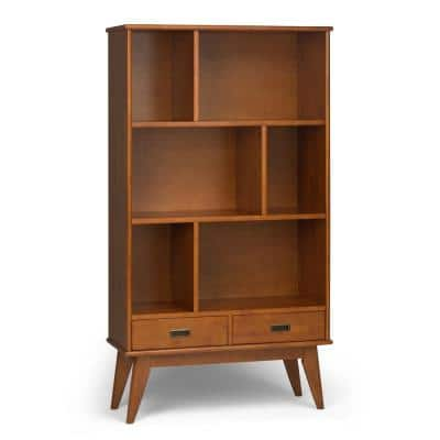 Draper 64 in. H Teak Brown Wood 3-Shelf Accent Bookcase with Drawers