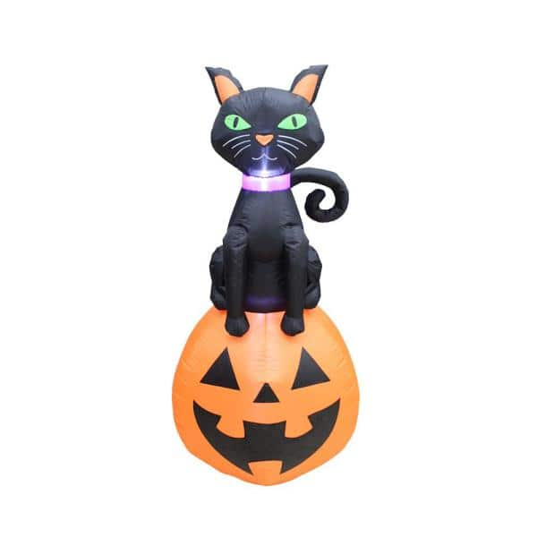 Spooky Town 5 Ft Black Cat On Jack O Lantern Outdoor Halloween Inflatable Decor 84014 Myt The Home Depot