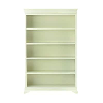 73 in. Polar White Wood 5-shelf Modular Bookcase with Adjustable Shelves
