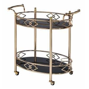 Gold and Black Metal Framed Serving Cart with Tempered Glass Top and Open Bottom Shelf