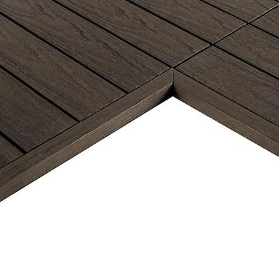 1/6 ft. x 1 ft. Quick Deck Composite Deck Tile Inside Corner Trim in Spanish Walnut (2-Pieces/Box)