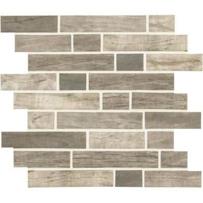 Driftwood Brown 12 in. x 12 in. x 6 mm Interlocking Matte Glass Mosaic Tile (14.55 sq. ft. / case)