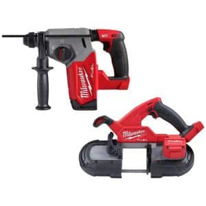 M18 FUEL 18-Volt Lithium-Ion Brushless Cordless 1 in. SDS-Plus Rotary Hammer with Compact Bandsaw (2-Tool)