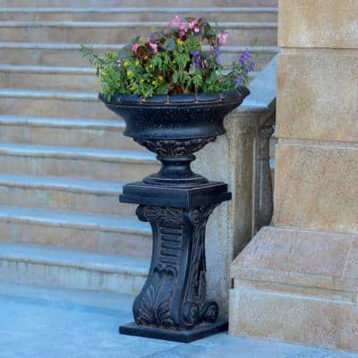 17 in. H Charcoal Cast Stone Low Urn