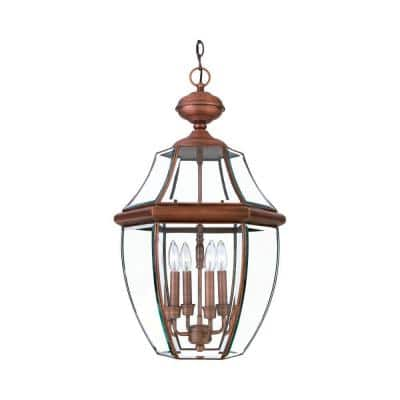 Lawrence 4-Light Outdoor Aged Copper Incandescent Hanging Light