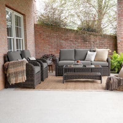 Jackson 6-Piece Wicker Seating Set with Gray Cushions