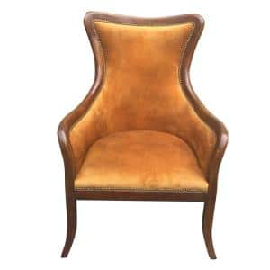 Brown Curved Back Fabric Arm Tufted Wooden Side Sofa Arm Chair