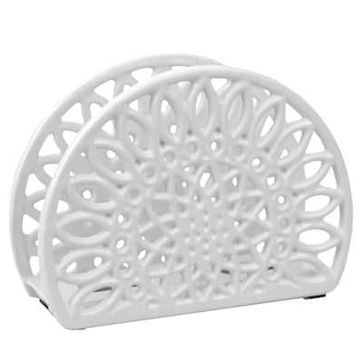 Sunflower Cast Iron Napkin Holder in White