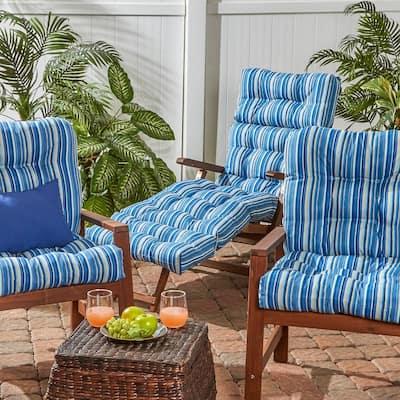 Coastal Stripe Sapphire Outdoor Chaise Lounge Cushion