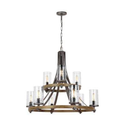 Angelo 9-Light Distressed Weathered Oak / Slate Grey Metal Rustic Farmhouse Wagon Wheel Chandelier with Clear Wavy Glass