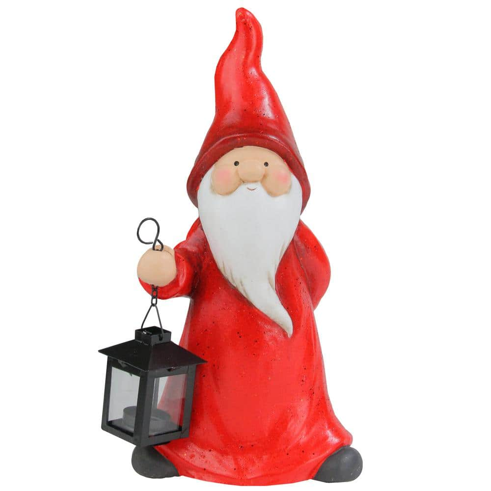 Northlight 12 In Whimsical Santa Claus Gnome With Lantern Christmas Figure 33750179 The Home Depot