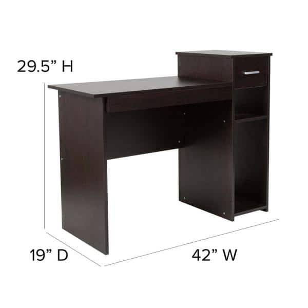 Flash Furniture 42 In Espresso, Flash Furniture Black Computer Desk With Pull Out Keyboard Tray