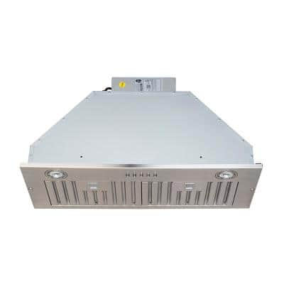 28 in. 600 CFM Insert/Built-in Range Hood with Baffle Filters LED Lights 3-Speed Control in Stainless Steel