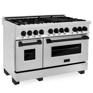 48 in. 6.0 cu. ft. Dual Fuel Range with Gas Stove and Electric Oven in Stainless Steel with Matte Black Accents