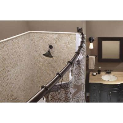 72 in. Permanent Adjustable Curved Shower Rod with Square Flange in Old World Bronze