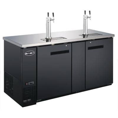 Three 1/2 Barrel Beer Keg Dispenser Refrigerator Cooler with 2 Double Tap Towers