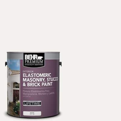 1 gal. #MS-39 Crystal White Elastomeric Masonry, Stucco and Brick Exterior Paint