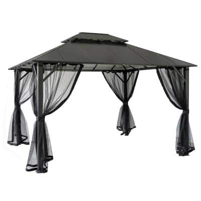 12 ft. x 10 ft. Insulated Aluminum Outdoor Patio Gazebo with Double Roof and Netting