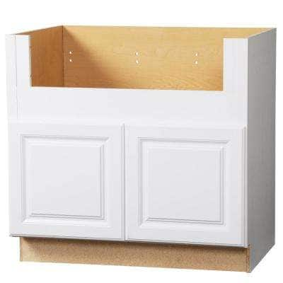 Hampton Satin White Raised Panel Assembled Farmhouse Apron-Front Sink Base Kitchen Cabinet (36 in. x 34.5 in. x 24 in.)
