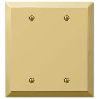 Metallic 2 Gang Blank Steel Wall Plate - Polished Brass