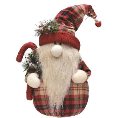16.25 in. Red and White Plaid Sitting Santa Gnome with Candy Cane Plush Table Top Christmas Figure