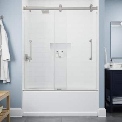 Paxos 60 in. W x 62-1/4 in. H Sliding Frameless Bathtub Door in Nickel with 5/16 in. (8 mm) Clear Glass