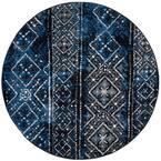 Adirondack Blue/Black 4 ft. x 4 ft. Round Area Rug