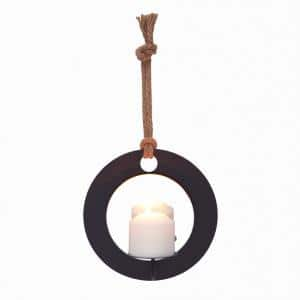 Algarve Black Round Pillar Candle Sconce with Mirror and Rope