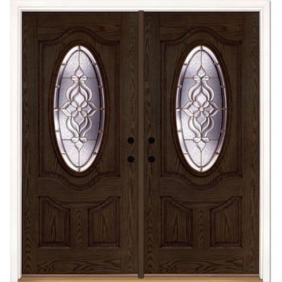 74 in. x 81.625 in. Lakewood Brass 3/4 Oval Lite Stained Walnut Oak Right-Hand Fiberglass Double Prehung Front Door