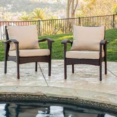 Honolulu Brown Stationary Wicker Outdoor Lounge Chair with Tan Cushion (2-Pack)