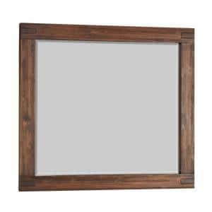 Medium Rectangle Brick Brown Beveled Glass Contemporary Mirror (38 in. H x 48 in. W)