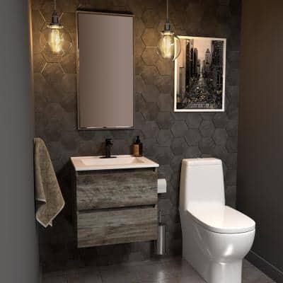 Sidemere 24 in. W x 18 in. D Vanity in Driftwood Gray with Porcelain Vanity Top in Solid White with White Basin