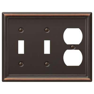 Ascher 3 Gang 2-Toggle and 1-Duplex Steel Wall Plate - Aged Bronze