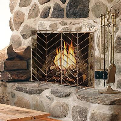 Bronze Single Panel Rustic Wrought Iron Fireplace Screen