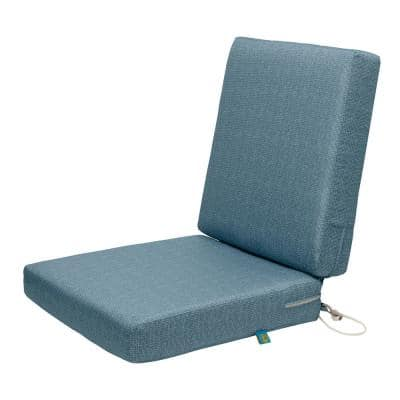 Weekend 36 in. W x 18 in. D x 3 in. Thick Outdoor Dining Chair Cushions in Blue Shadow